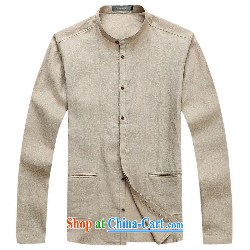 T spring 6008 new Chinese Spring Loaded ramie linen trends men shirts men's long-sleeved shirt, beige L/175