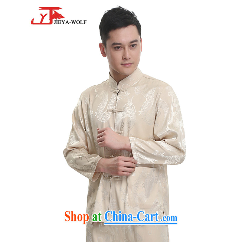 Jack And Jacob - Wolf JIEYA - WOLF 2015 new kit Chinese men's spring and long-sleeved stylish dragon silk, men's men's Tang with pale yellow 185_XXL