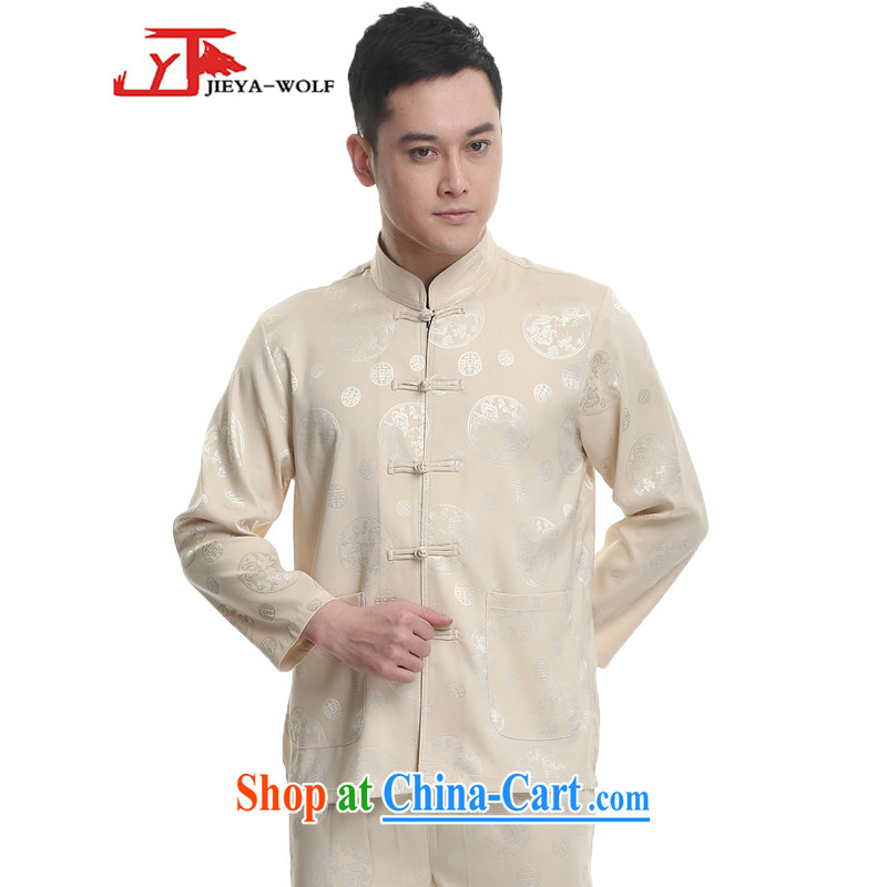 Jack And Jacob - Wolf JIEYA - WOLF 2015 new spring loaded Tang men's long-sleeved Kit men Tang with stylish spring, the dragon silk stars, M yellow 180/XL
