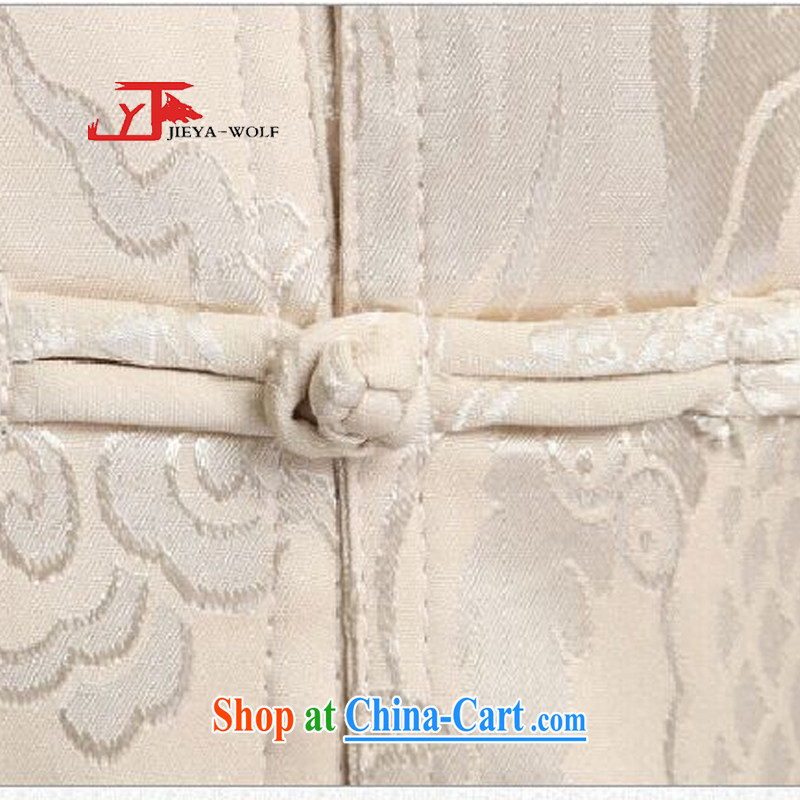 Jack And Jacob - Wolf JIEYA - WOLF 2015 new spring loaded Tang men's long-sleeved Kit men Tang is stylish, and the Kowloon Star silk, beige 180/XL, JIEYA - WOLF, shopping on the Internet