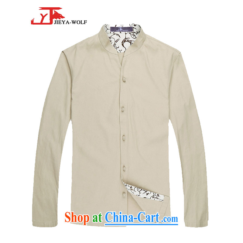 Jack And Jacob - Wolf JIEYA - WOLF Chinese men's Spring and Autumn and long-sleeved shirt men Tang with stylish solid-colored shirt Spring and Autumn stars, white 180_XL