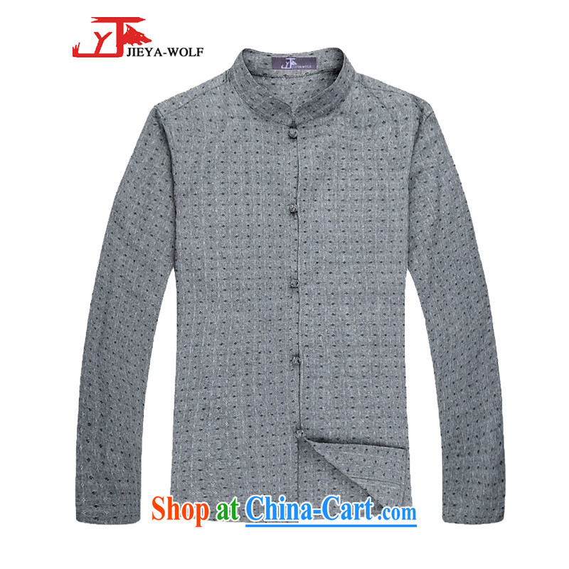 Jack And Jacob - Wolf JIEYA - WOLF Chinese men's Spring and Autumn and long-sleeved shirt men Tang with stylish spring cotton stars, gray 165/S
