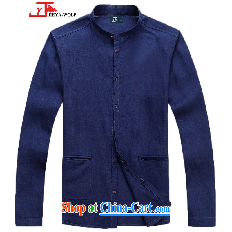 Jack And Jacob - Wolf JIEYA - WOLF 15 Chinese men's spring and long-sleeved shirt men's Tang is stylish and solid-colored linen shirt, blue 165/S