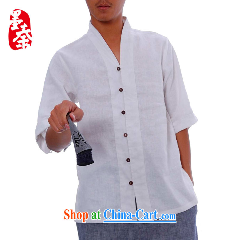 elections the Qin weaving -- 9 state_improvements, served plain, dull 5 cuff men's leisure retro shirt white XXL_Jumbo