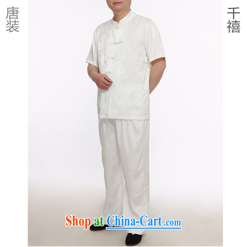 The people more than the male Tang load package summer thin silk short-sleeved Kit National wind-tie short sleeve with his father in the old Tang loaded package of Jubilee 1000 white XXXL