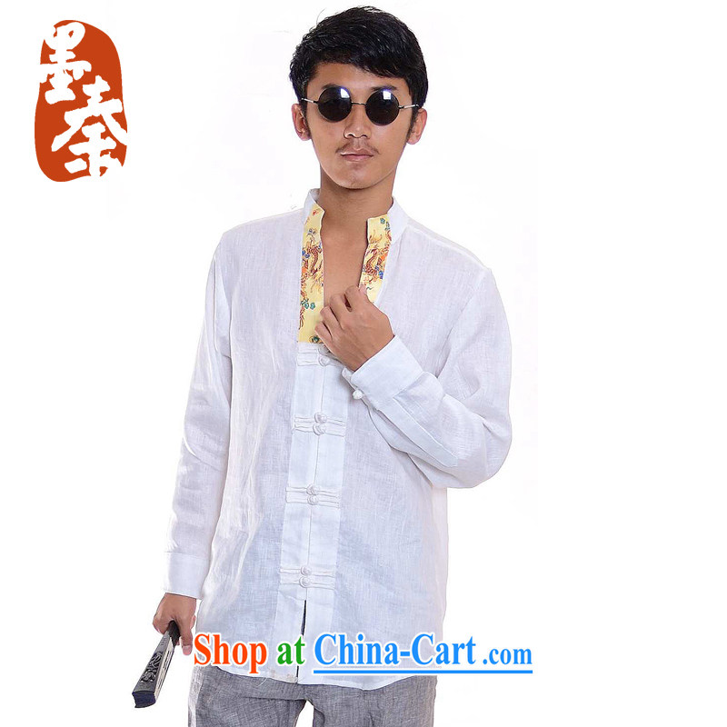 elections the Qin weaving -- Kuan Kung_Original Design China wind silk linen leisure-tie men's shirts white XXL_Jumbo