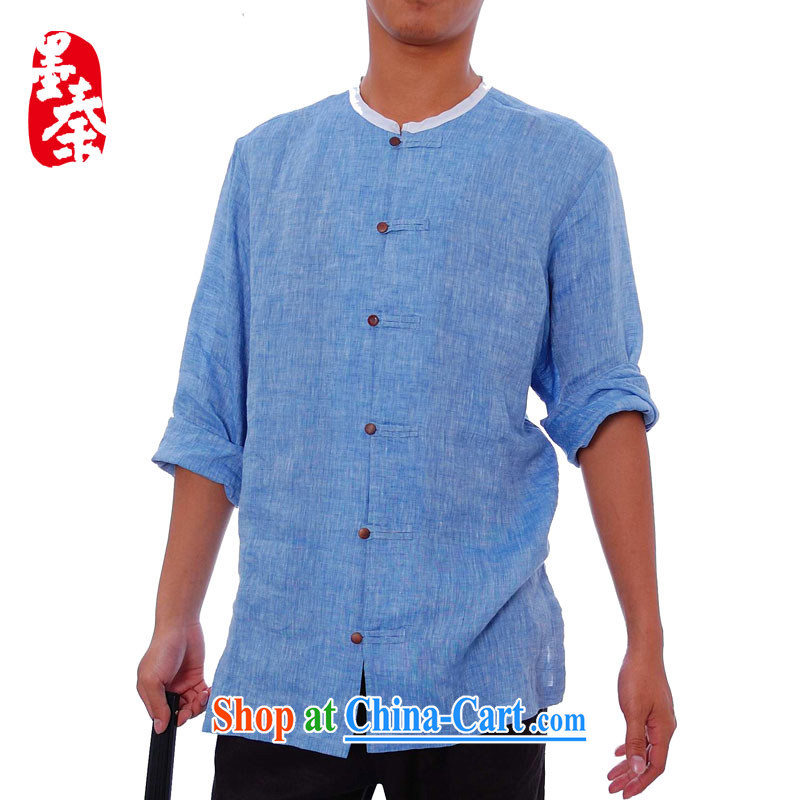elections the Qin weaving -- Design China wind men's casual plain linen ethnic characteristics and 8831 light blue XXL_Jumbo