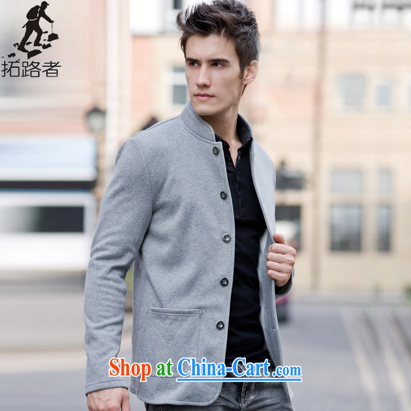 topology of the men's classic Zhongshan collar cotton stylish and classy lounge 100 ground simple plain colored suit men and 216,237 gray XXL