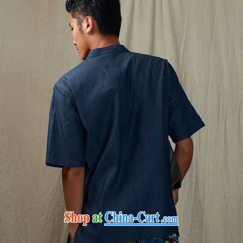 elections the Qin weaving -- original design China wind Cowboy is a flap disc for improved Han-shirts to blue XXL/Jumbo, the Qin, shopping on the Internet