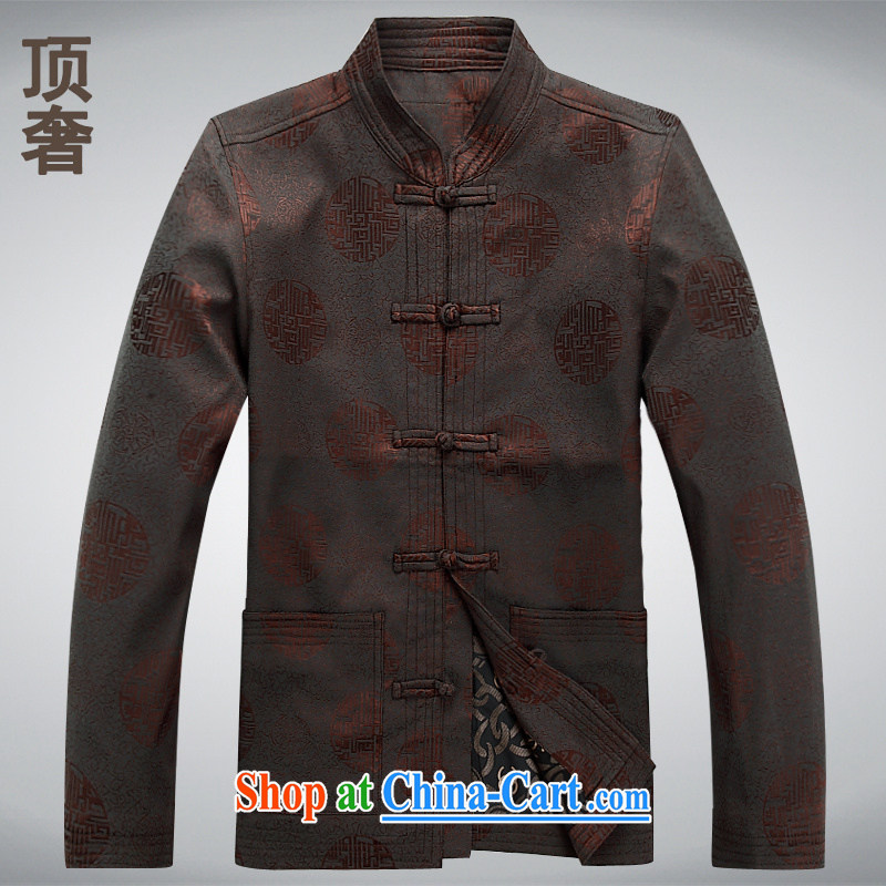 Top Luxury men's long-sleeved T-shirt pure cotton Ethnic Wind-tie jacket men's China in the wind old men Tang with Grandpa with the long-sleeved XXL, long-sleeved brown L/170