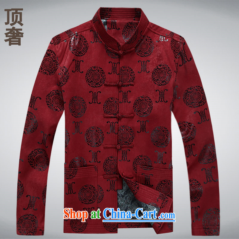 Top luxury Chinese men's long-sleeved winter pure cotton China wind-buckle Yi long-sleeved Chinese classical ethnic wind-tie his father with his father's loaded, 6598 red XXXXL_190
