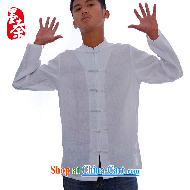 elections the Qin weaving -- commercial_small, for China's wind the snap feature long-sleeved men's casual shirt white XXL_Jumbo