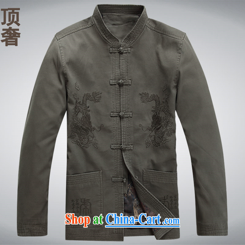 Top Luxury cotton jacket Tang Replace T-shirt 2014 autumn and winter, older men's jackets National wind-tie long-sleeved Tang replace men and sand washed cotton gray-green XXXL_190