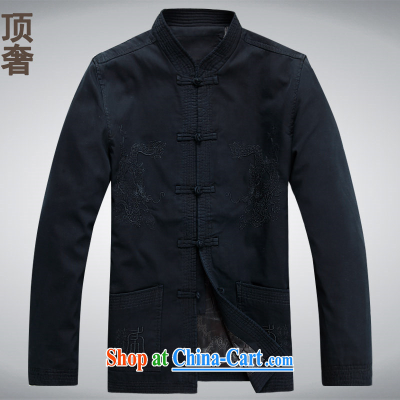 Top Luxury men's Tang with long-sleeved T-shirt 2014 autumn and winter, older men Tang with his father with pure cotton jacket long-sleeved men's washable cotton blue dark blue long-sleeved XXL