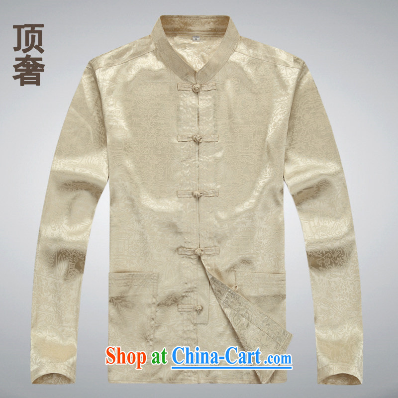 Top Luxury 2014 new men's jackets men's Tang replace older Tang with long-sleeved T-shirt classical liberal T-shirt men's father is long-sleeved male M yellow long-sleeved XXXL 185