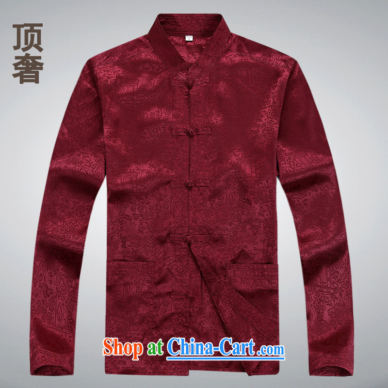 Top Luxury autumn 2014 the Chinese men's long-sleeved men Tang jackets National wind-snap Tang Replace T-shirt classic old Tang is 8060, red long-sleeved XL/175