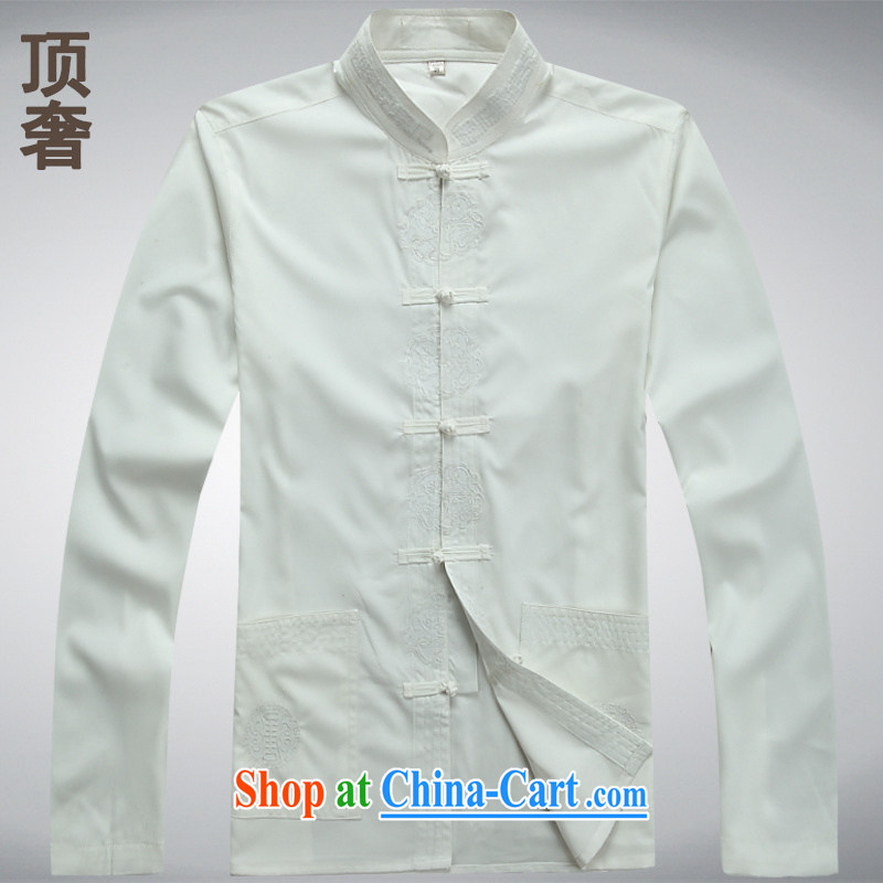 Top Luxury thin long-sleeved Tang mounted 2014 New Men's T-shirt China wind men Tang replace loose version T-shirt Tang replace older jacket white long-sleeved XXXL_185