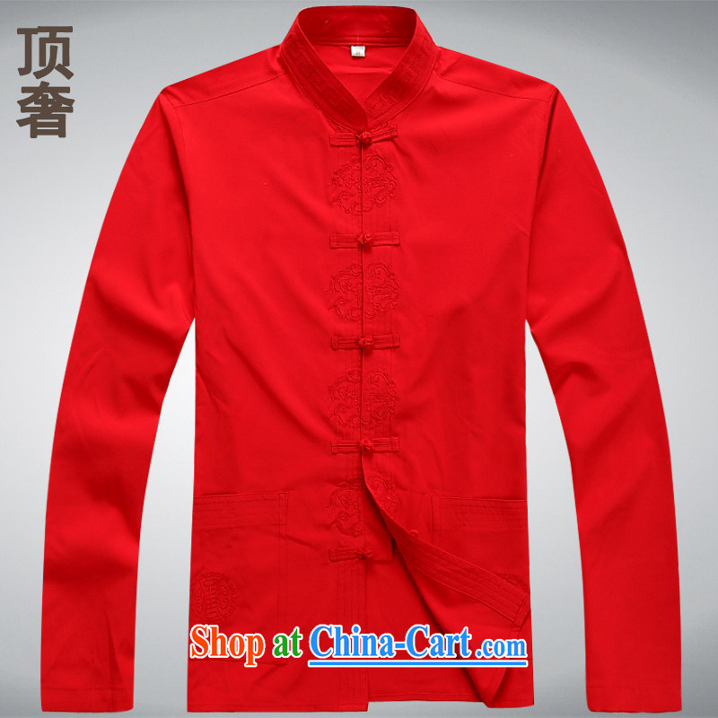 Top Luxury thin long-sleeved Tang mounted 2014 New Men's T-shirt China wind men Tang with relaxed version T-shirt Tang replace older jacket white long-sleeved XXXL/185, with the top luxury, shopping on the Internet