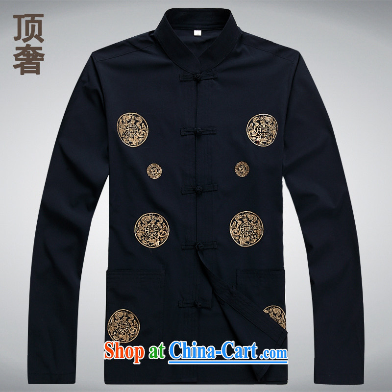 Top Luxury men Tang with long-sleeved T-shirt thin shirt men's jackets National wind-tie classical Chinese style hot-free long-sleeved Chinese, 2047 XL Black XXXL/185