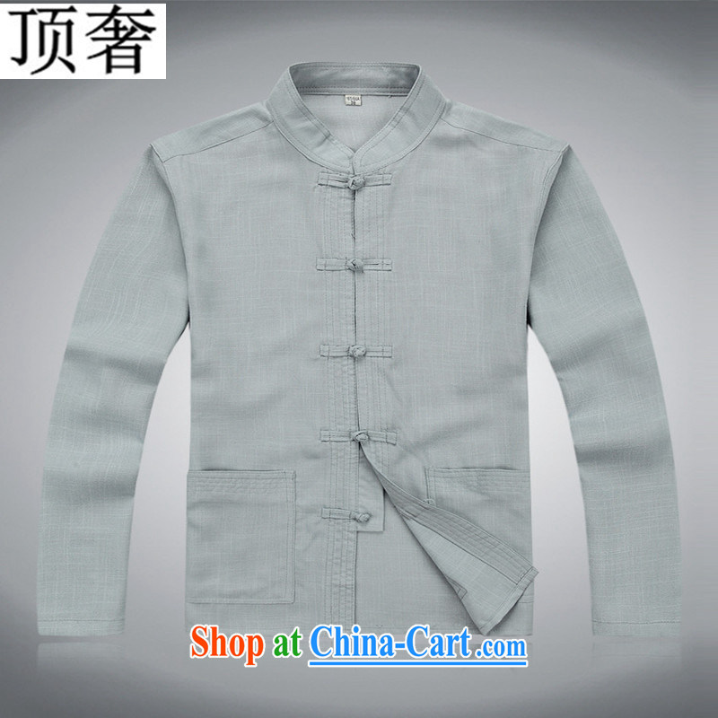 Top Luxury Tang replace Kit long-sleeved in 2014 older package linen Chinese men Tang is included in the kit older kit kit long-sleeved men's gray suit XXXL/185