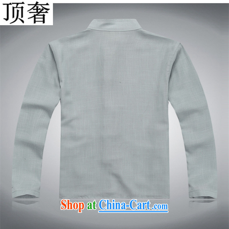 Top Luxury Tang Mounted Kit long-sleeved in 2014 older package linen Chinese men Tang is included in the kit older package package of long-sleeved gray package XXXL/185, with the top luxury, online shopping