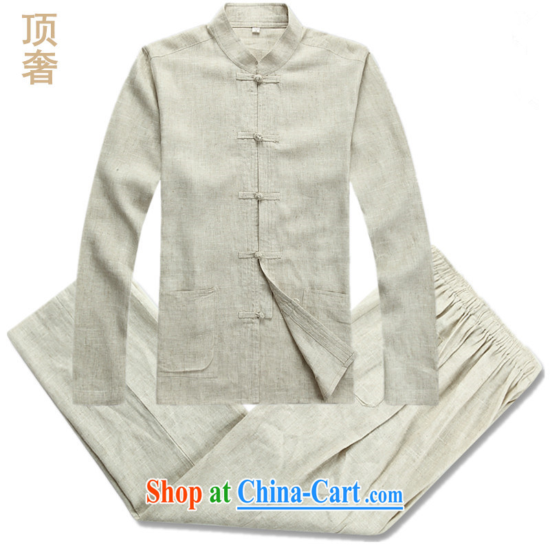 Top Luxury men's Tang is set long-sleeved men's package, the package of linen long-sleeved thin disk for national costume bed Warranty Package Tang replace 2042, linen beige Kit XXXL_185