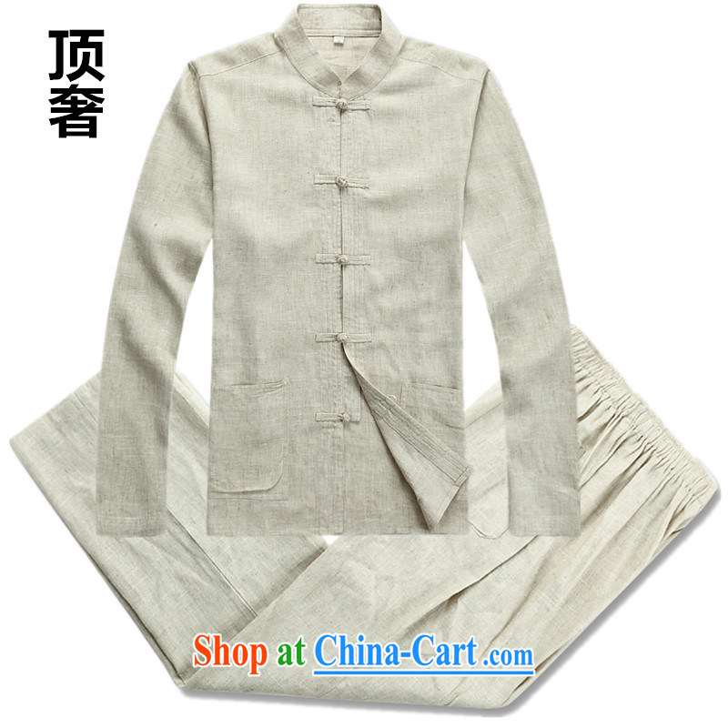 Top Luxury men's Tang is set long-sleeved men's package, the package of linen long-sleeved thin disk for national costume bed warranty package with Tang 2042, linen beige Kit XXXL/185 and the top luxury, shopping on the Internet