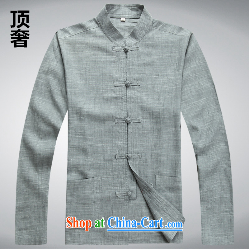 Top luxury Chinese men's long-sleeved T-shirt thin, linen collar long-sleeved jacket men Tang with long-sleeved National wind in older Chinese men's T-shirt gray T-shirt XXXL/185