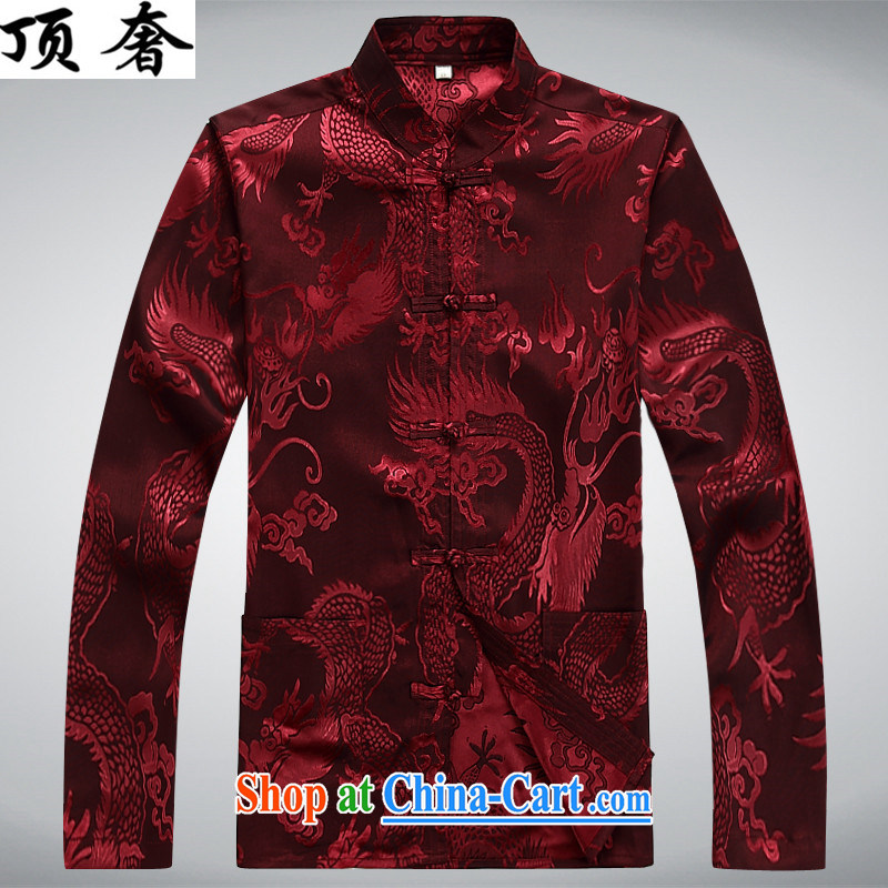 Top Luxury Tang replace long-sleeved men and 2014 new men's jackets jacket National wind-buckle older Chinese T-shirt Dad jacket men Tang red long-sleeved M/170