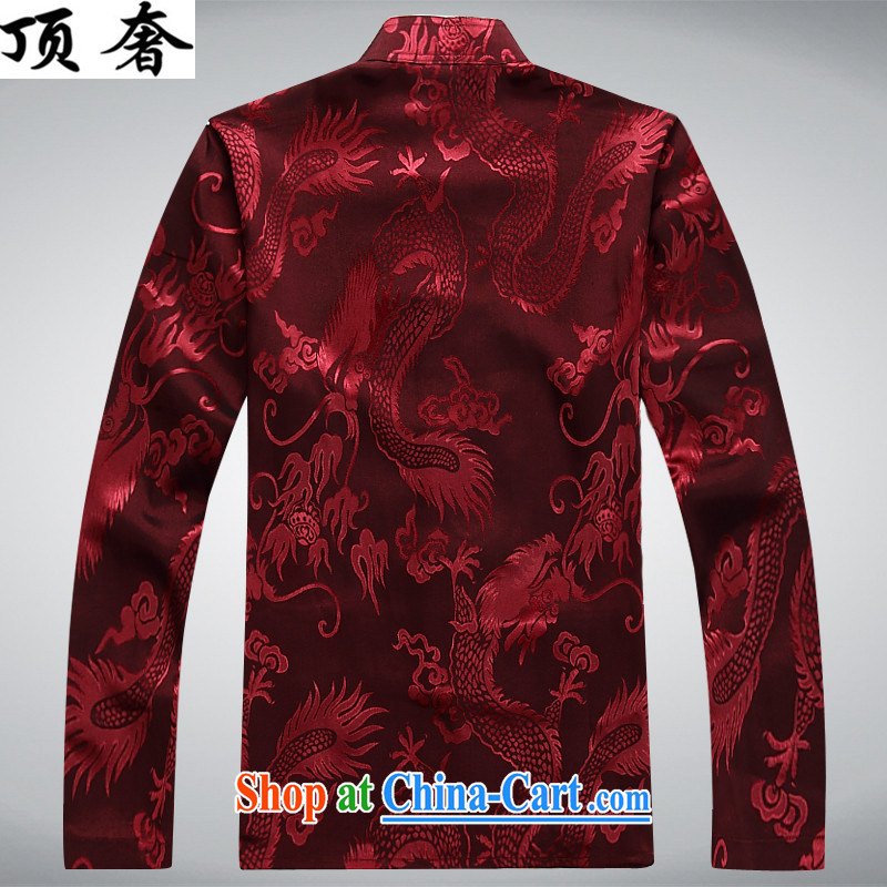 Top Luxury Tang with long-sleeved men and 2014 new men's jackets jacket National wind-buckle older Chinese T-shirt Dad jacket men Tang red long-sleeved M/170 and the top luxury, shopping on the Internet