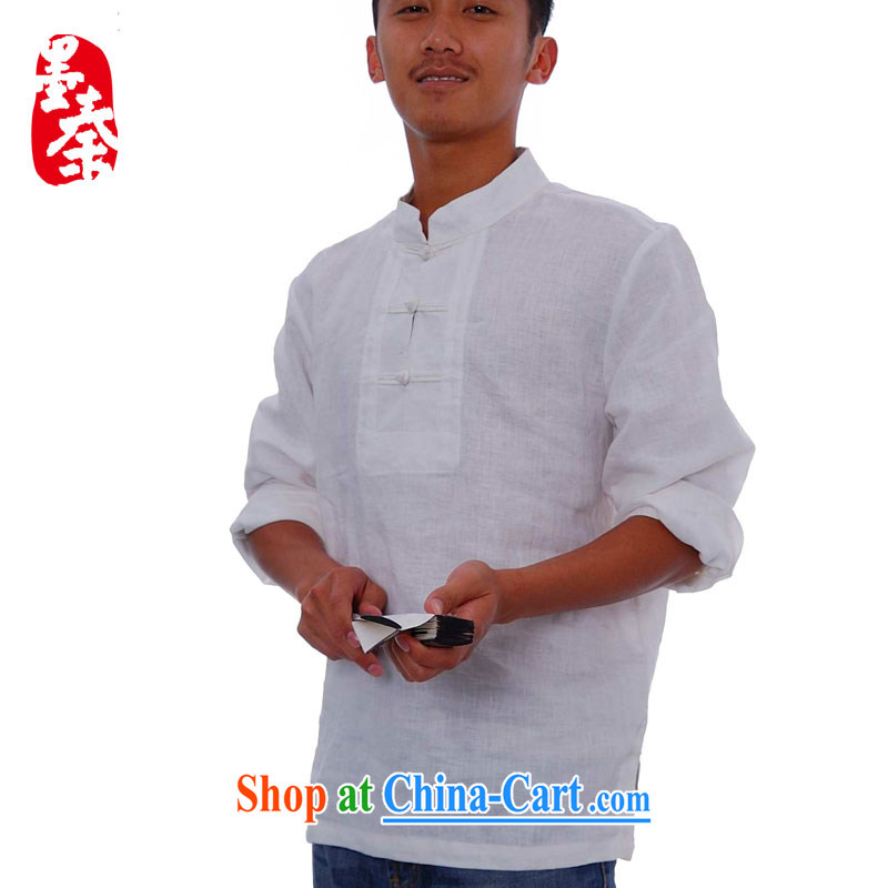 elections the Qin weaving -- the collar flap ethnic wind characteristics for the long-sleeved men's shirts white XXL_Jumbo