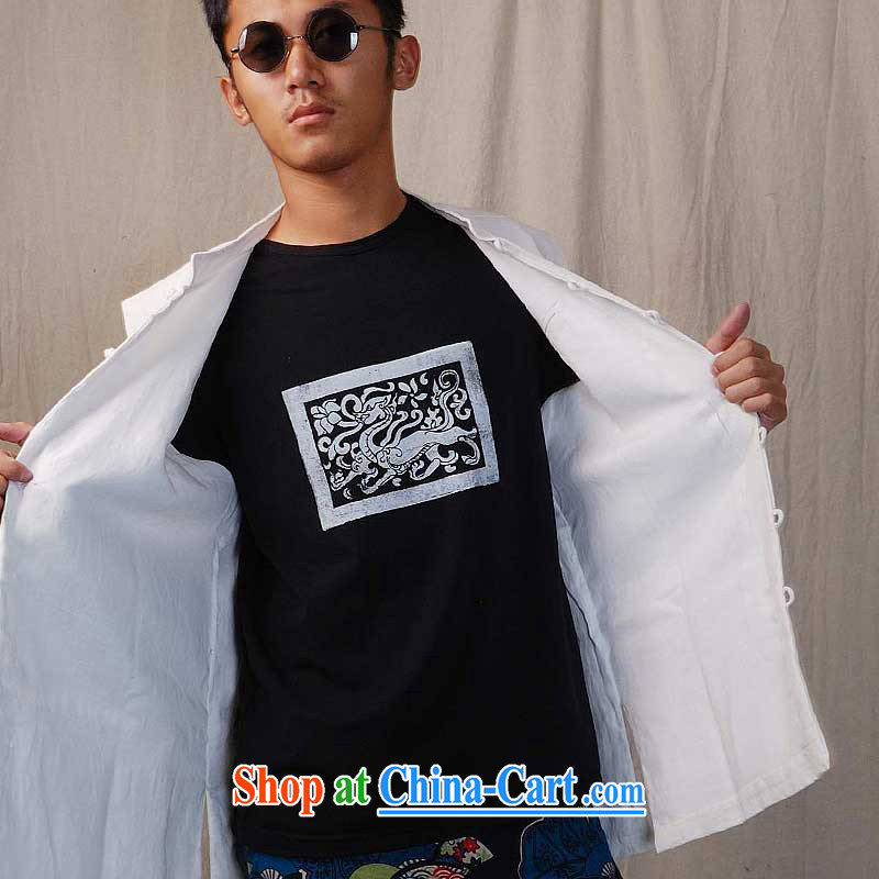 elections the Qin weaving -- original design men's disc snaps cotton the commission leisure Ma a/wind, white XXL/Jumbo, the Qin, shopping on the Internet