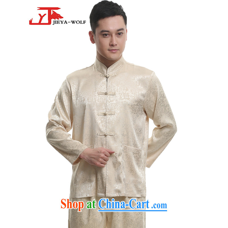 Jack And Jacob - Wolf JIEYA - WOLF 2015 new spring loaded Tang men's long-sleeved Kit men Tang is stylish and the River During the Qingming Festival silk, beige 180/XL