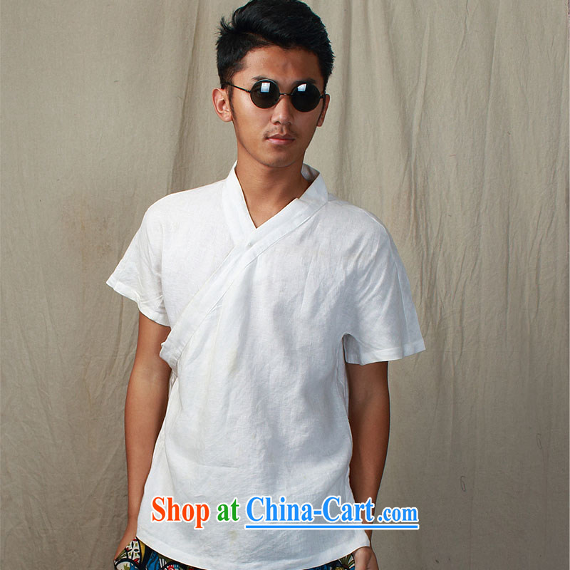 elections the Qin original design -- China wind short-sleeve plain linen improved version, served/deplored Mr HUI Yin-fat white XXL/Jumbo
