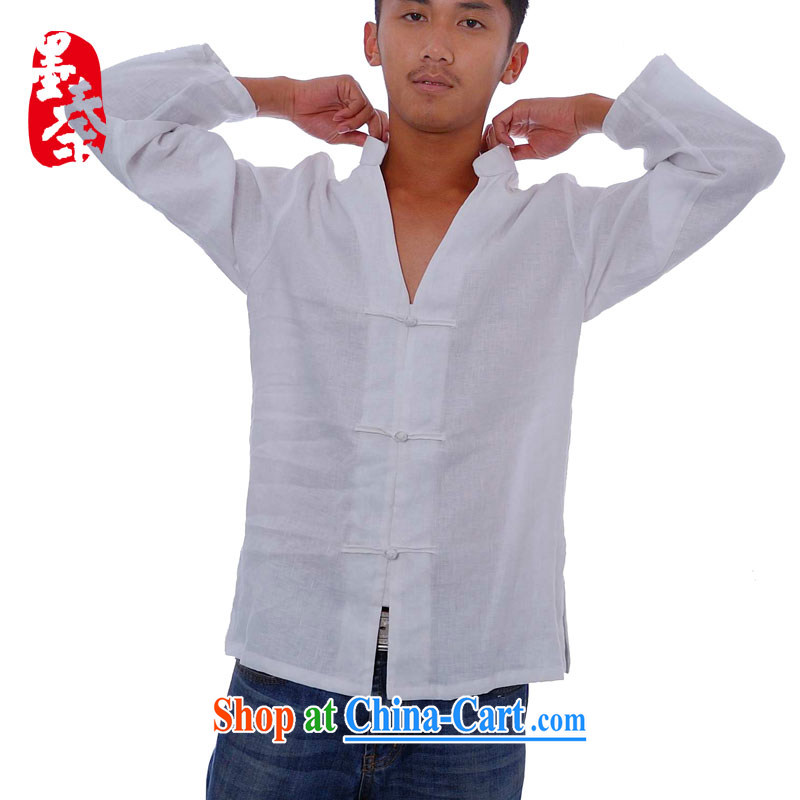 elections the Qin weaving -- Tsing Yi/independent design, for the long-sleeved tie plain linen Chinese casual shirt white S/fine