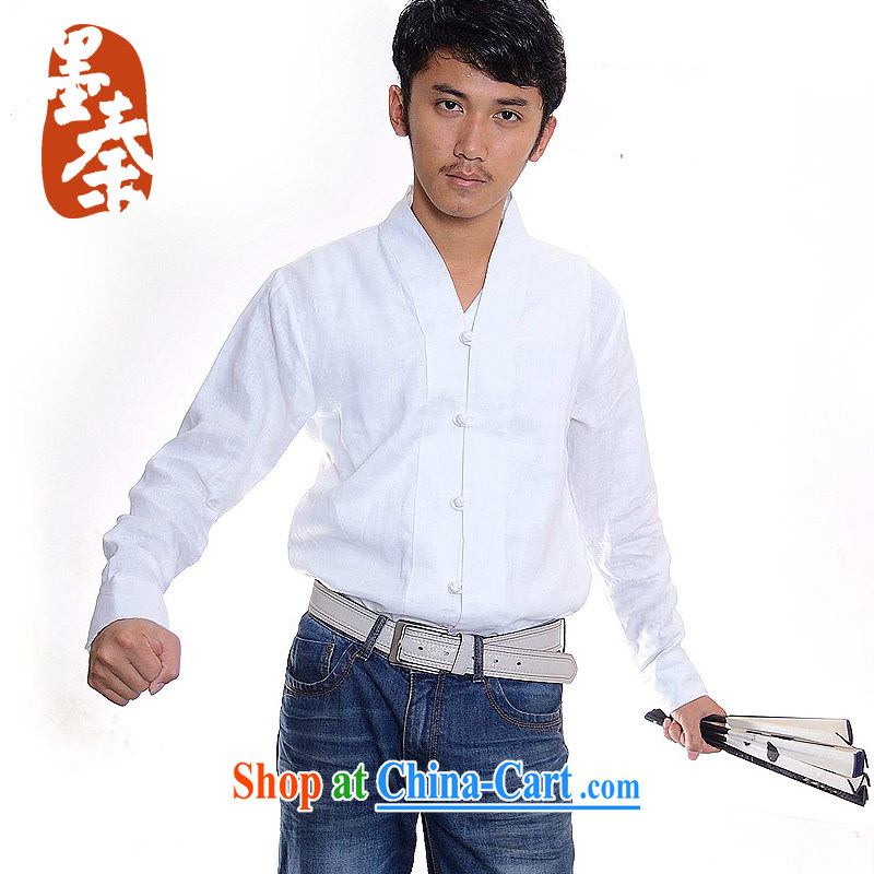 elections the Qin weaving -- 9 song_independent design new long-sleeved linen-tie casual shirt white XXL_Jumbo