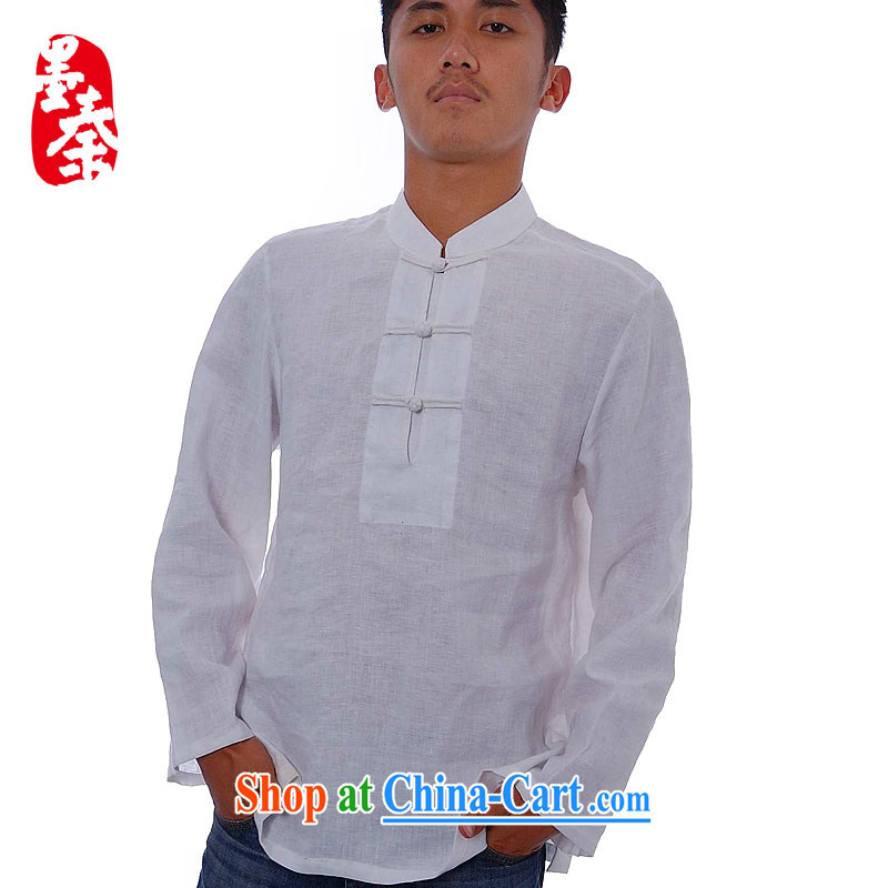 elections the Qin weaving -- not the central/the collar flap, snap plain linen china wind leisure men's 8661 white XXL/Jumbo