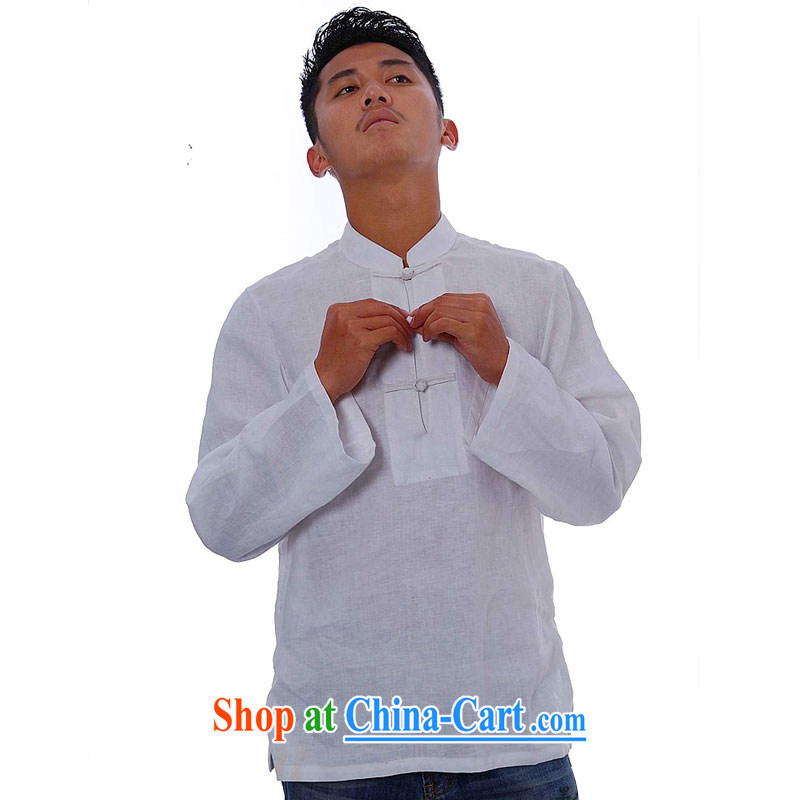 elections the Qin weaving -- not the central/the collar flap, snap-plain linen china wind leisure men's 8661 white XXL/Jumbo, the Qin, and online shopping