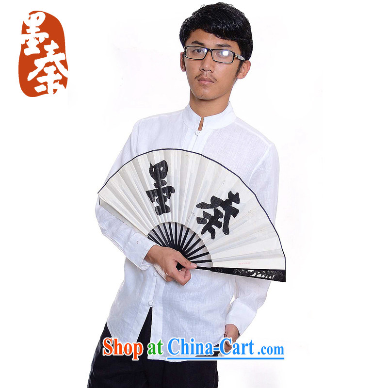 elections the Qin weaving -- the scholar_men China wind-tie, collar linen casual shirt 508 white XXL_Jumbo