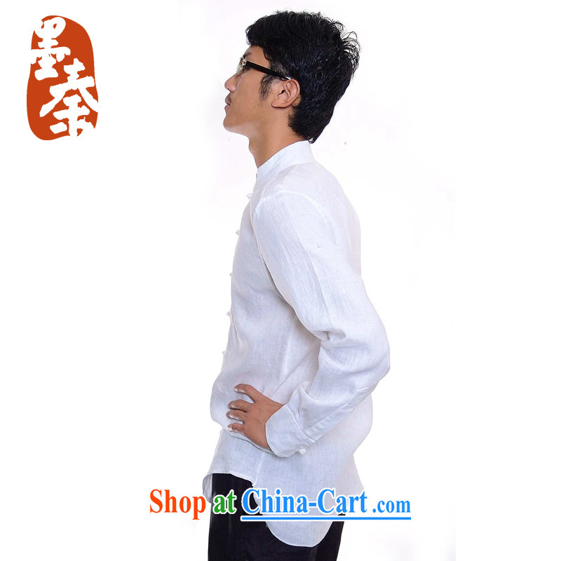 elections the Qin weaving -- the scholar/Men's China wind-tie and collar linen casual shirt 508 white XXL/Jumbo, the Qin, shopping on the Internet