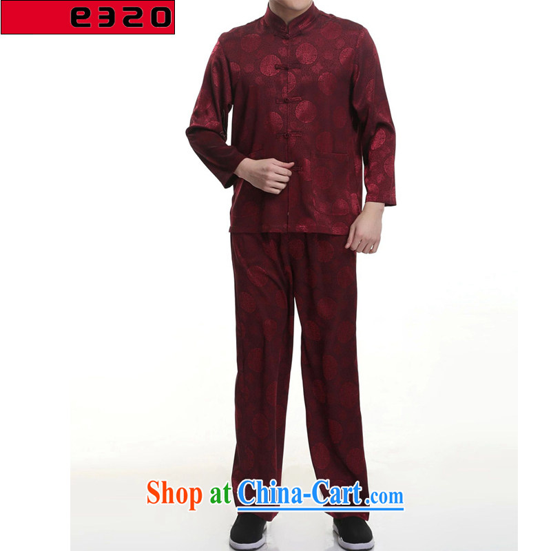 320 E in 2015 older men's short-sleeved Chinese Kit long-sleeved Dragon Chinese Chinese men and set his father with deep red 190