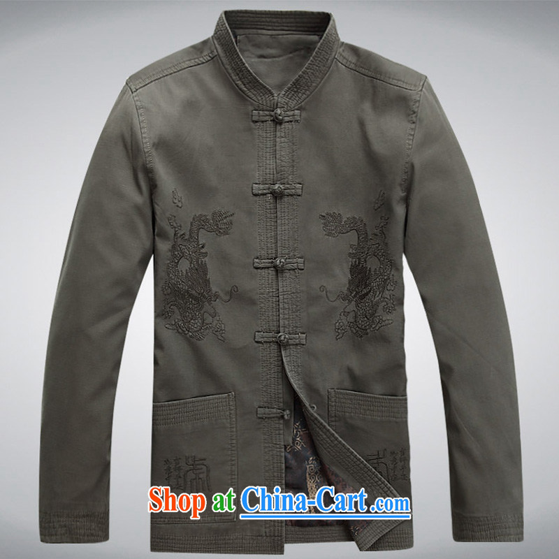 The chestnut mouse Tang replace spring new men's long-sleeved Tang with stylish lounge loose sand washed cotton long-sleeved Chinese green gray M