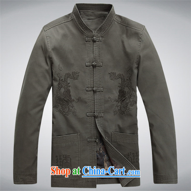 The chestnut mouse Tang replace spring and new men's long-sleeved Tang with stylish lounge loose sand washed cotton long-sleeved Tang with dark gray M