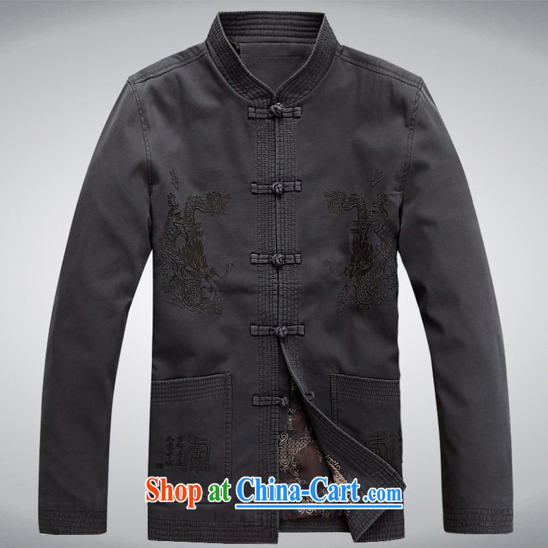 The chestnut mouse Tang replace spring and new men's long-sleeved Tang is stylish and relaxed loose sand washed cotton long-sleeved Tang with dark gray M, the chestnut mouse (JINLISHU), online shopping