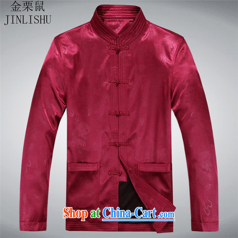 The chestnut mouse classic middle-aged and older men and the Chinese long-sleeved T-shirt men's jackets Chinese Disc fall arrest load larger Tang jackets men's red 175
