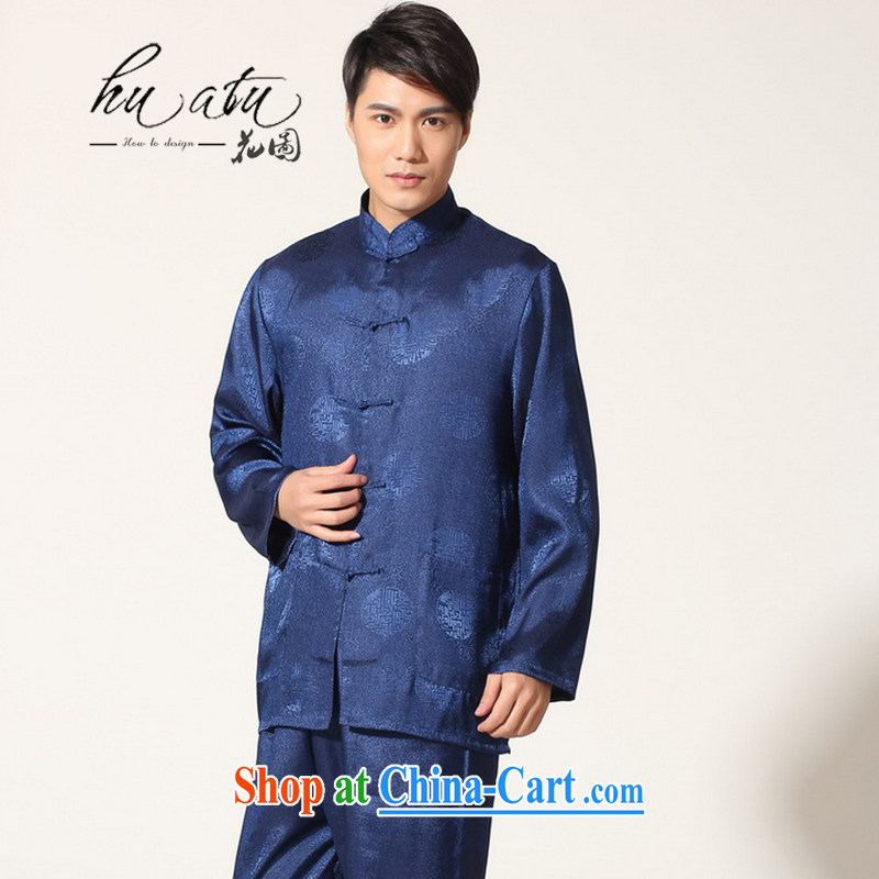 Take the 2014 autumn and winter, new Chinese male Chinese damask on long-sleeved T-shirt Tai Chi uniforms kung fu Kit male - B Cheong Wa Dae on XXXL