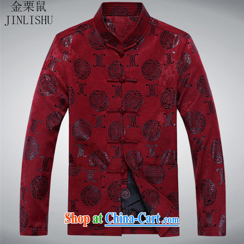The chestnut mouse spring, men and the elderly in the lounge, Chinese, for Chinese jacket coat Dad loaded men's T-shirt red 175