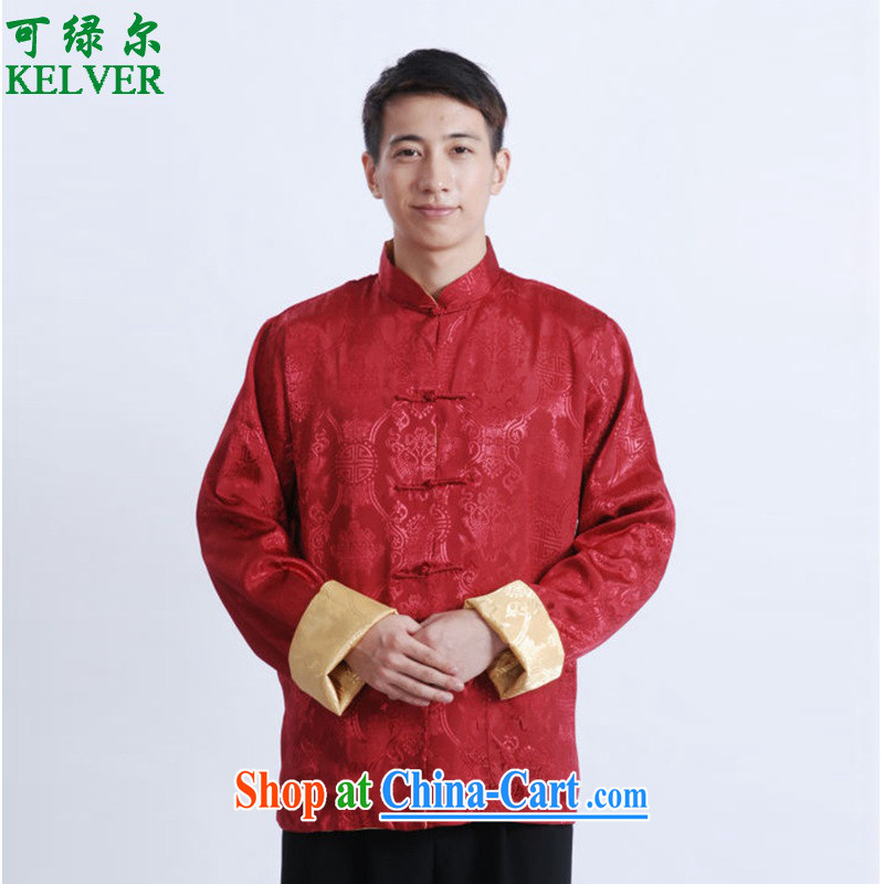 To Green, spring and stylish new products, old father with a collar to spend two-wearing Tang Jacket Picture Color 3XL