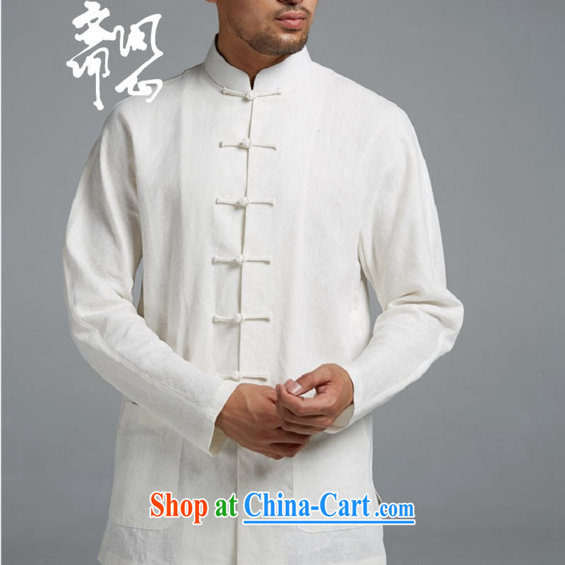 q heart Id al-Fitr (the health of spring loaded new products men's Chinese-buckle cotton Ma Sau San, T-shirt shirt WXZ 1549 white XL, ask heart ID al-Fitr, shopping on the Internet