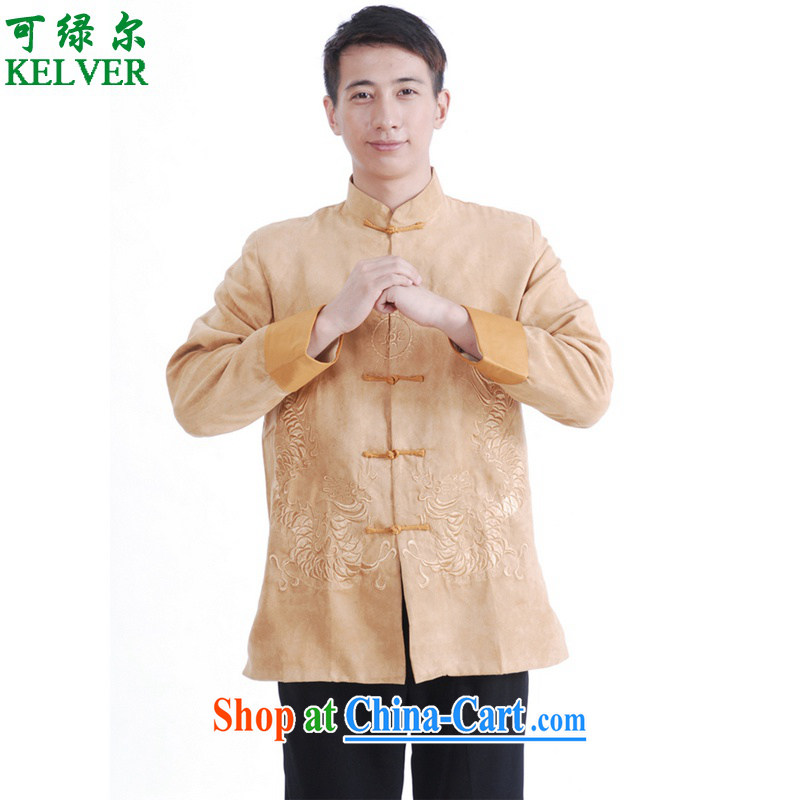 To Green, spring and stylish new products, old father with a collar double-lung embroidered single buckle Tang Jacket Picture Color 3XL